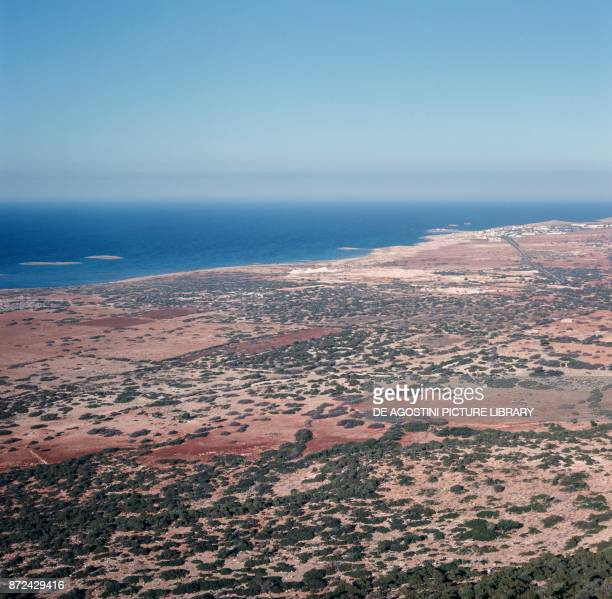 Aerial view of Apollonia ancient Greek colony in Cyrenaica Libya 7th century BC