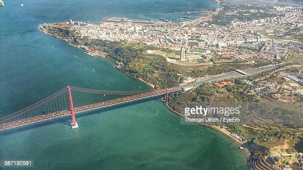 Aerial View Of April 25Th Bridge Over Tagus River