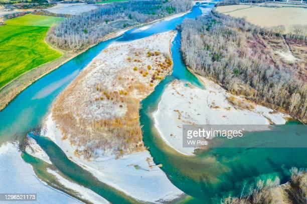 Aerial view of Aragon river. Yesa reservoir surroundings, Saragossa, Aragon, Spain. Europe..