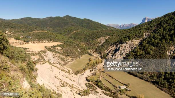 Aerial view of Aragonese Pyrenees from viewpoint of Boltaña Castle with Ordesa National Park on background, Boltaña, Huesca, Northern of Spain, Pais Vasco, Spain