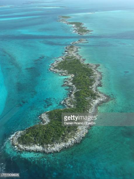 Aerial View Of Archipelago In Caribbean Sea At Exuma