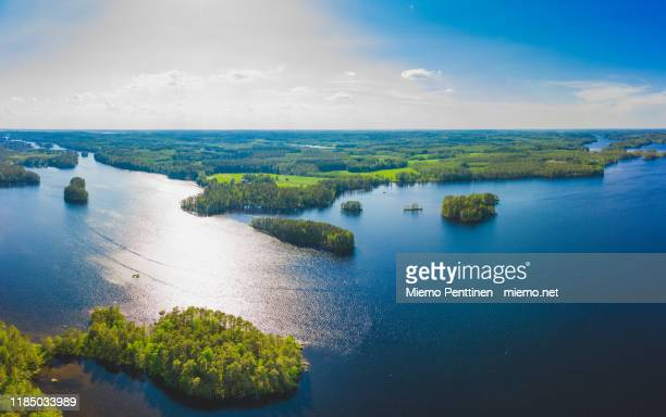 aerial view of archipelago in the finnish lake district in summertime - フィンランド ストックフォトと画像