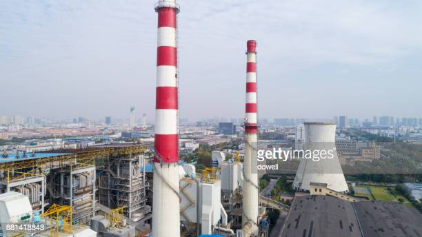 aerial view of architectures in modern power plant