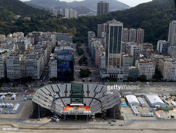 Aerial view of Arena de Vôlei de Praia which is home beach volleyball as Rio prepares for the 2016 Summer Olympic Games on July 31 2016 in Rio de...