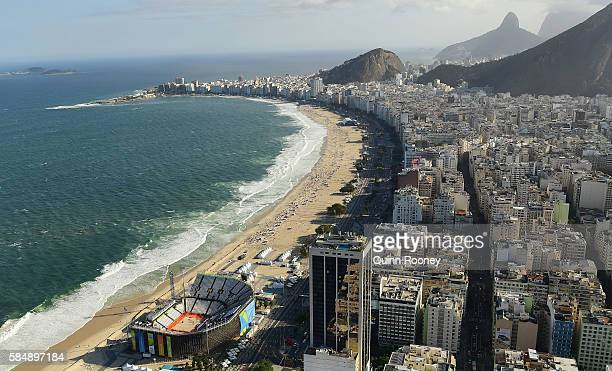 Aerial view of Arena de Vlei de Praia which is home to the beach volleyball as Rio prepares for the 2016 Summer Olympic Games on July 31 2016 in Rio...