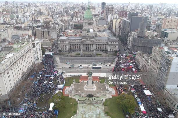Aerial view of Argentina National Congress while senators vote the abortion bill on August 8 2018 in Buenos Aires Argentina The bill aims to expand...