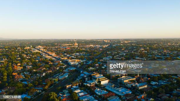 aerial view of armadale in melbourne, australia - melbourne australia stock pictures, royalty-free photos & images