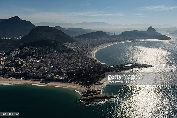 Aerial view of Arpoador beach in Rio de Janeiro Brazil on June 26 2014 AFP PHOTO / YASUYOSHI CHIBA