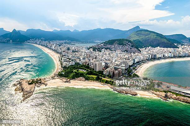 aerial view of arpoador in rio de janeiro. - copacabana beach stock pictures, royalty-free photos & images