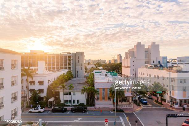 aerial view of art deco district in south beach, miami, usa - tranquil scene stockfoto's en -beelden