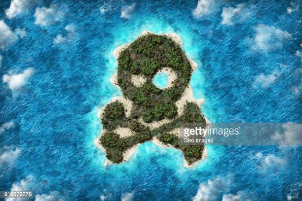 Aerial view of artificial island in shape of skull and crossbones, China