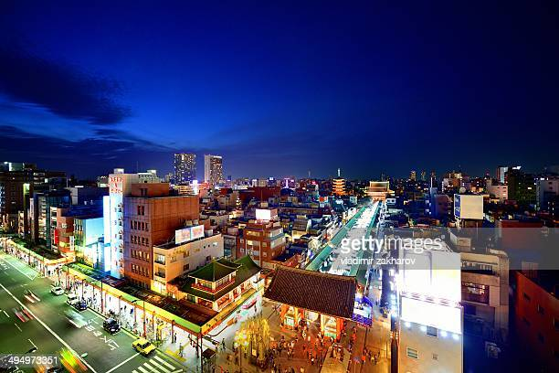 Aerial view of Asakusa district at sunset