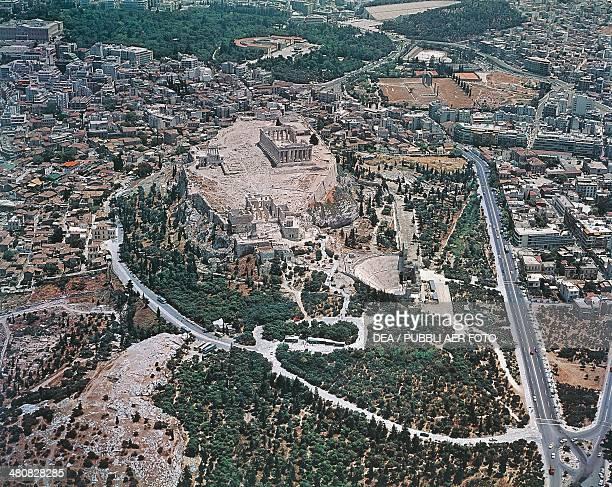 Aerial view of Athens Acropolis Attica Greece