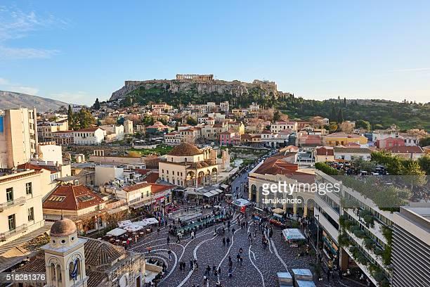 Luftbild von Athen und Akropolis