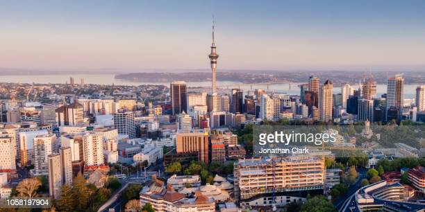 aerial view of auckland city skyline, new zealand - new zealand bildbanksfoton och bilder
