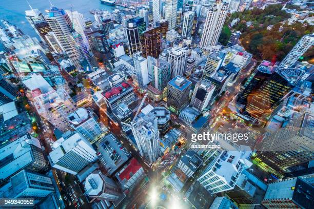 aerial view of auckland financial district,new zealand - auckland stock pictures, royalty-free photos & images