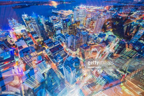 aerial view of auckland night cityscape,new zealand - auckland photos et images de collection