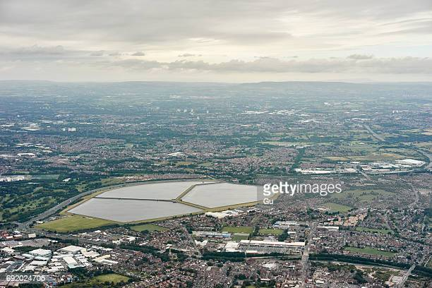 aerial view of audenshaw reservoir, manchester, uk - greater manchester stock pictures, royalty-free photos & images