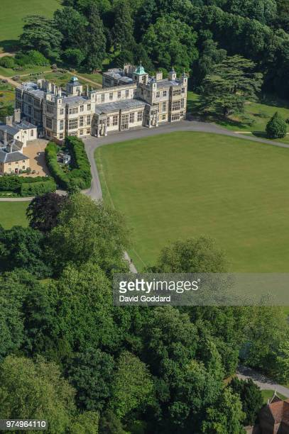 ESSEX ENGLAND Aerial view of Audley End House this 17th century Jacobean mansion is located 14 miles south of Cambridge on the banks of River Cam and...