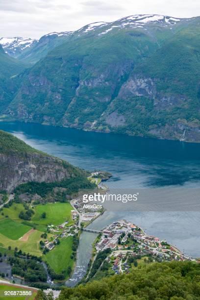Aerial view of Aurlandsvangen and Aurlandsfjord, Sogn og Fjordane, Norway