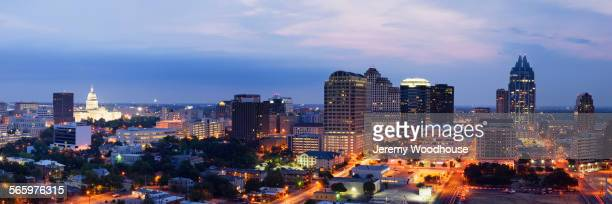 aerial view of austin cityscape illuminated at night, texas, united states - austin texas stock pictures, royalty-free photos & images
