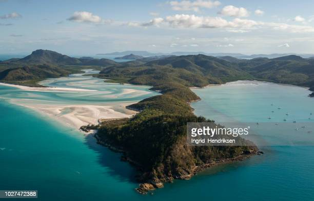 aerial view of australia - whitehaven beach stock photos and pictures