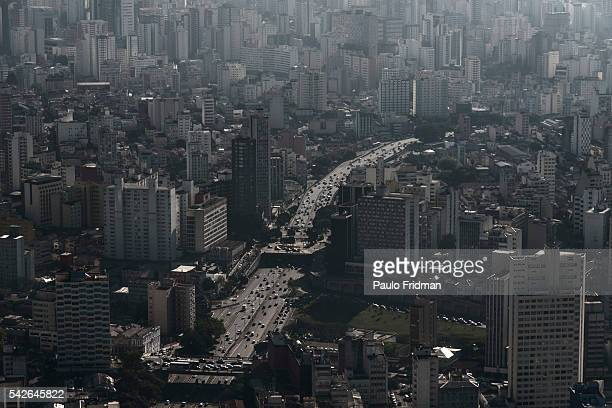 Aerial view of Avenida Paulista one of Sao Paulo's main avenues and the surrounding buildings on Friday August 23rd 2013