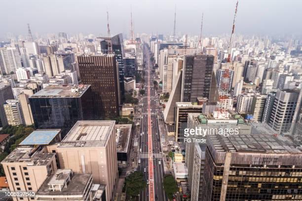 Aerial View of Avenida Paulista, Sao Paulo city, Brazil
