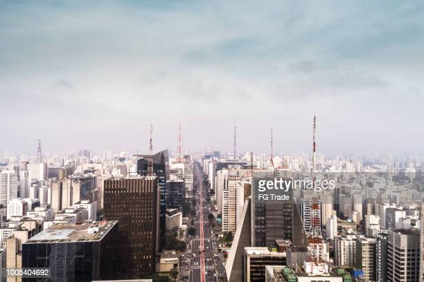 aerial view of avenida paulista, sao paulo city, brazil - são paulo stock pictures, royalty-free photos & images