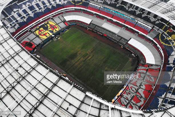 Aerial view of Azteca Stadium after NFL's decision to move Monday night's game between Kansas City Chiefs and Los Angeles Rams to Los Angeles...