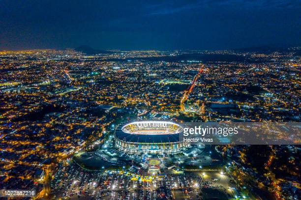 Aerial view of Azteca stadium prior the final first leg match between America and Cruz Azul as part of the Torneo Apertura 2018 Liga MX at Azteca...
