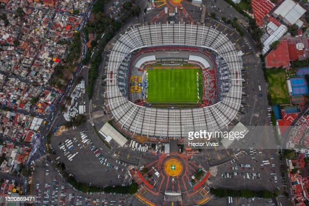 Aerial view of Azteca stadium prior the Final second leg match between Cruz Azul and Santos Laguna as part of the Torneo Guard1anes 2021 Liga MX at...