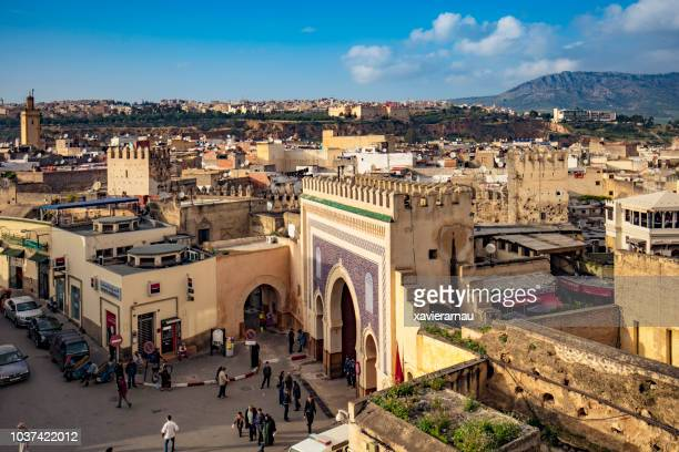 Aerial view of Bab Bou Jeloud gate, Blue Gate in Fez, Morocco