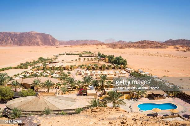 Aerial view of Bait Ali Camp, Wadi Rum Village, Aqaba Governorate, Jordan