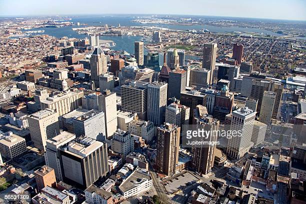 aerial view of baltimore, maryland - baltimore maryland - fotografias e filmes do acervo