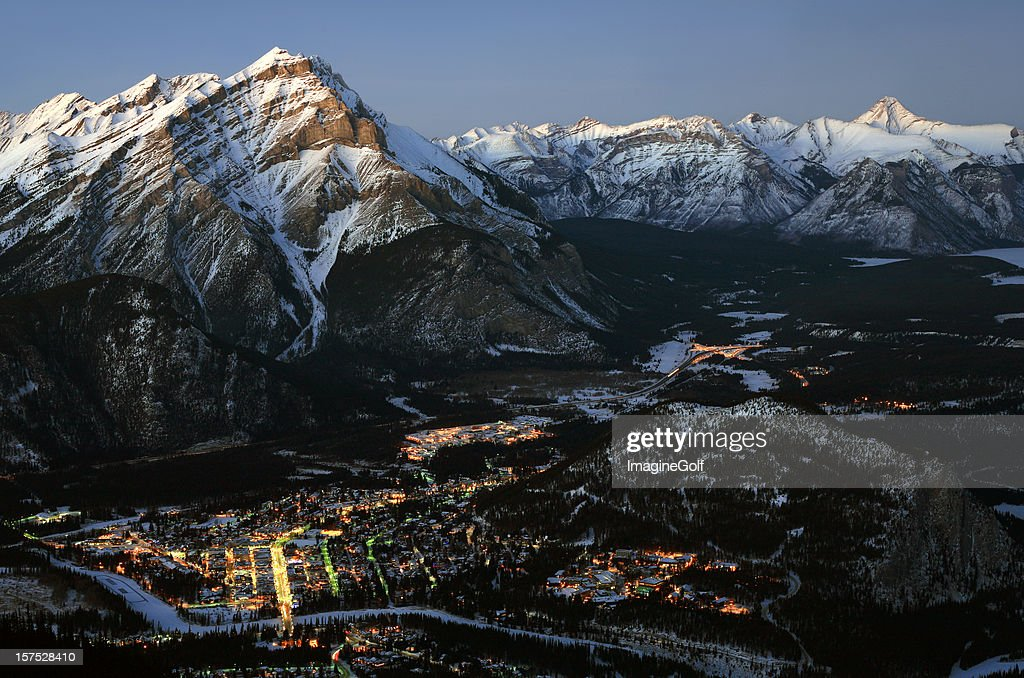 Aerial View of Banff Alberta Canada in Winter : Stock Photo
