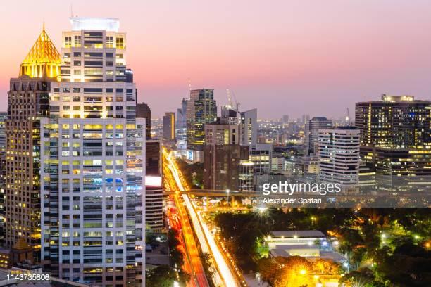 Aerial view of Bangkok skyline at night, Thailand