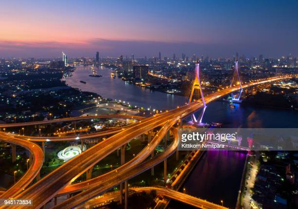 Aerial view of Bangkok;Beautiful sunset view of Bhumibol bridge is an important infrastructure in Bangkok,Bridge of transportation for import/export,Bangkok,Thailand.Shot from drone.