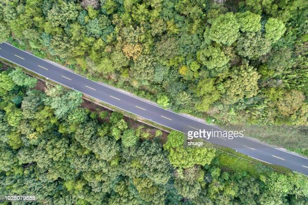 aerial view of baojie mountain forest park mountain road - straight stock pictures, royalty-free photos & images