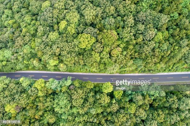 Aerial view of BaoJie mountain forest park mountain road