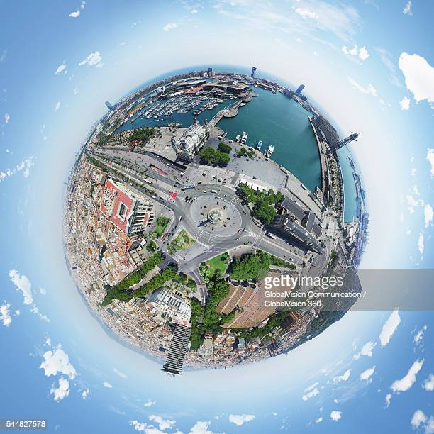 360° Aerial View of Barcelona Harbor, Spain
