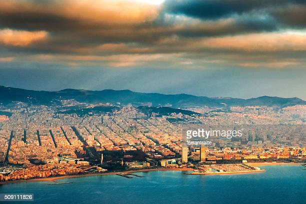 Aerial view of Barcelona Skyline