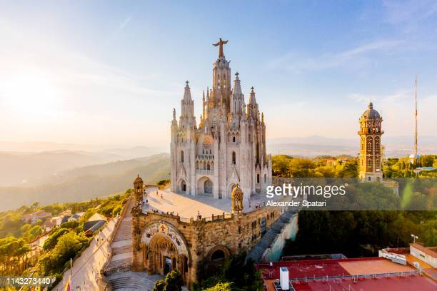 aerial view of barcelona skyline with sagrat cor temple, catalonia, spain - barcelona spanien stock-fotos und bilder