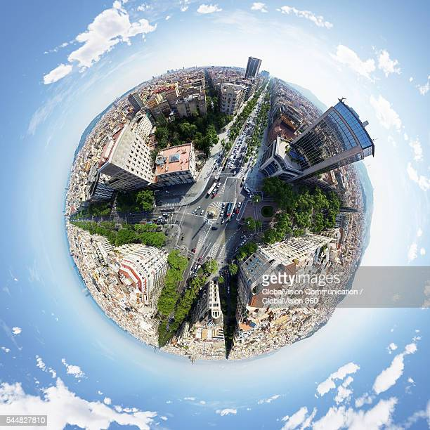360° Aerial View of Barcelona, Spain