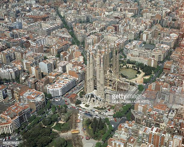 Aerial view of Barcelona with the Sagrada Familia or Basilica and Expiatory Church of the Holy Family Catalonia Spain