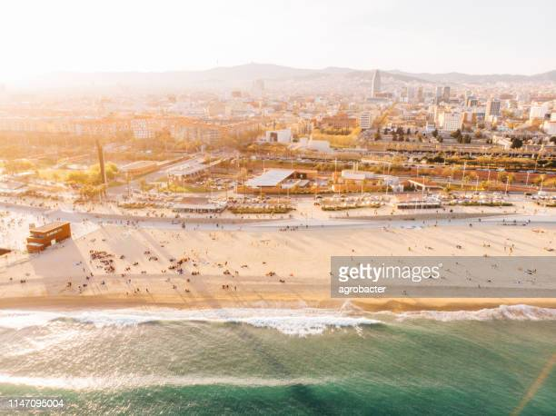 aerial view of barceloneta beach - la barceloneta stock pictures, royalty-free photos & images