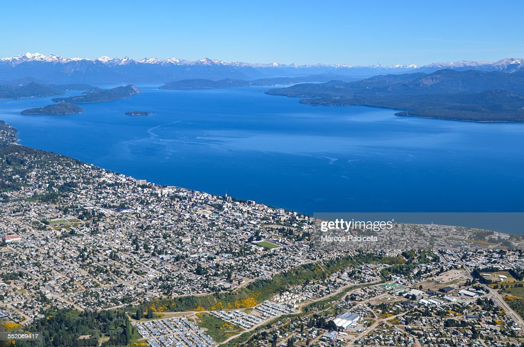 Aerial view of Bariloche city and lake : Stock Photo