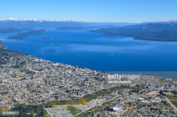 aerial view of bariloche city and lake - radicella stock pictures, royalty-free photos & images