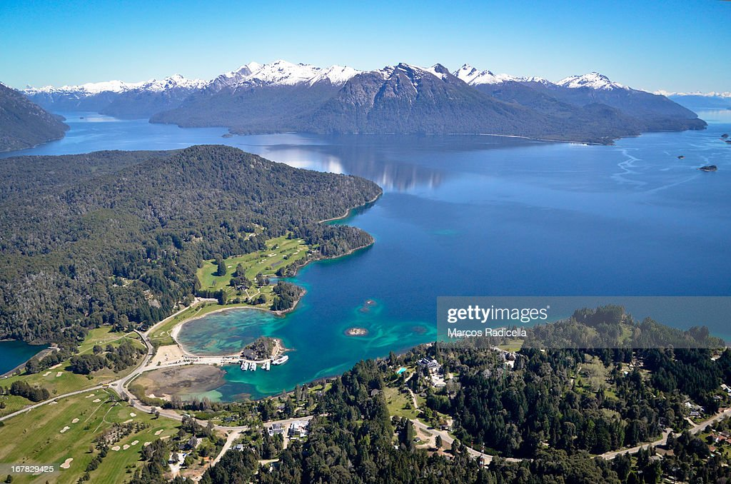 Aerial view of Bariloche, on a spring day. : Stock Photo