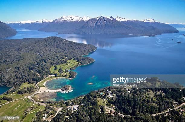 aerial view of bariloche, on a spring day. - radicella stock pictures, royalty-free photos & images